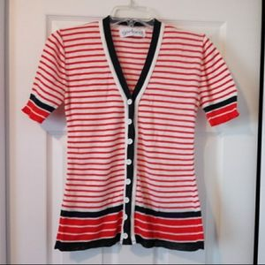 Vintage Red White Blue Stripe Nautical Cardigan
